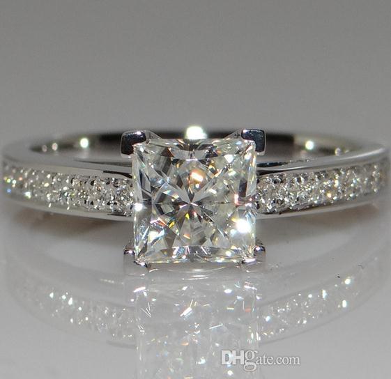 Compre Anillo De Diamante Cuadrado Cuatro Garras Anillo De