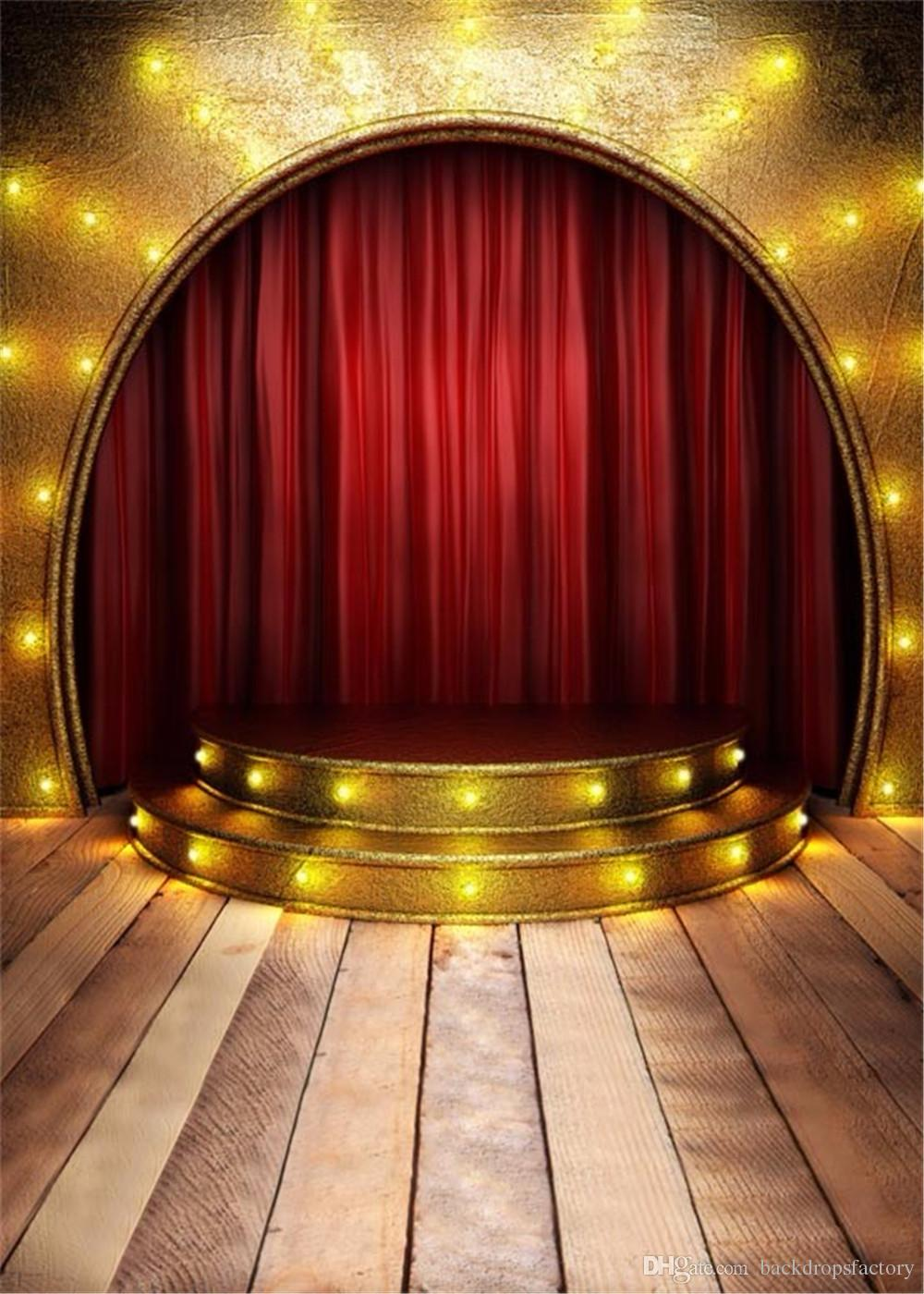 Gold Wall Red Curtain Arched Stage Photography Background