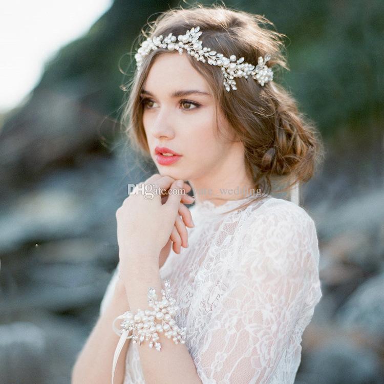 boho bridal halo headpiece rinetones wedding hairpiece hand wired crystal pearl leaf hair tiara crown bridal hair accessories designer earrings for wedding