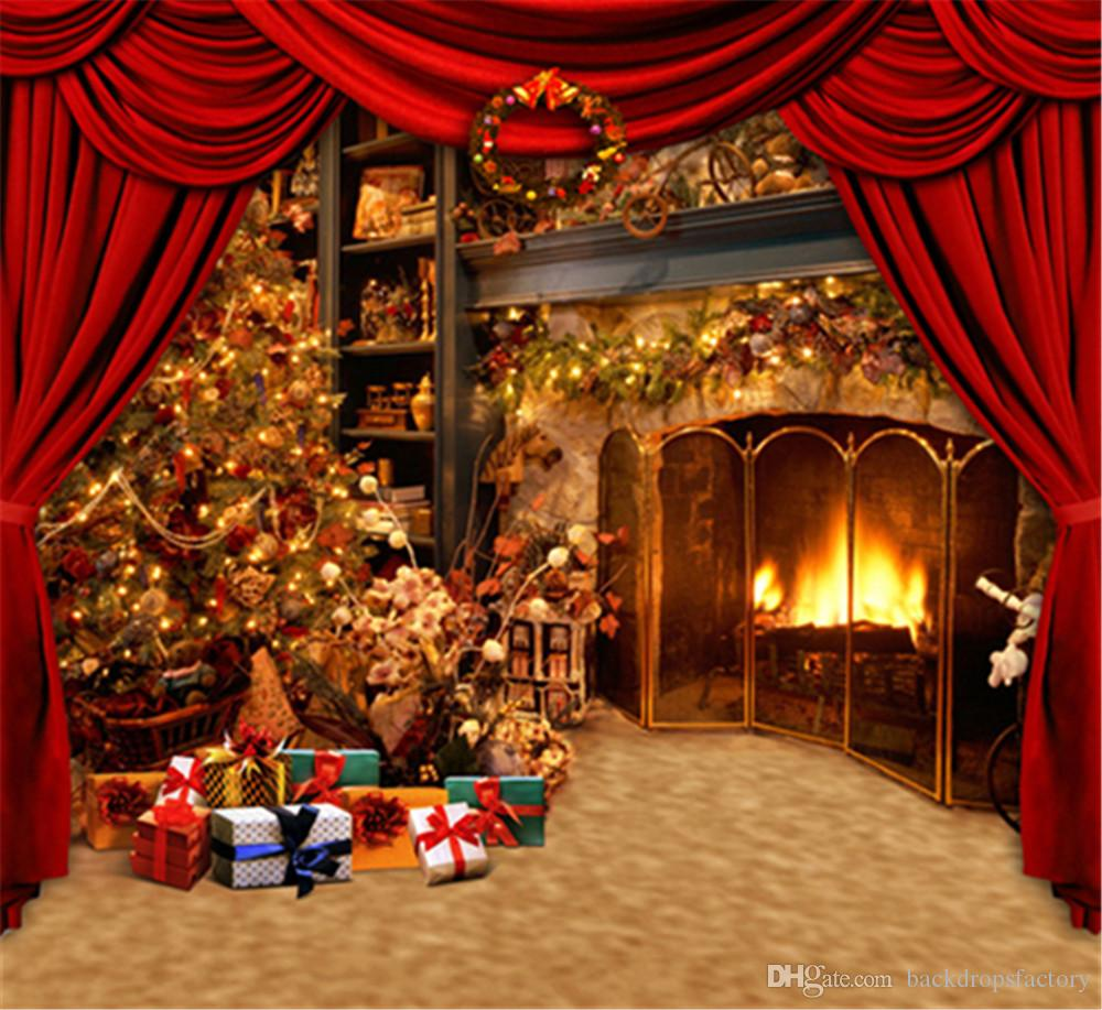Red Curtain Stage Photo Backdrops Brown Texture Floor Gift Boxes Indoor Fireplace Christmas Tree