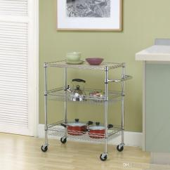 Wire Kitchen Cart Free Standing Sink Cabinet Chrome 3 Tier Rolling Utility Food Service Microwave Stand