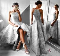 Silver High Low Formal Evening Dresses 2018 New Full Lace