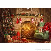 2018 Indoor Merry Christmas Fireplace Background Vintage ...