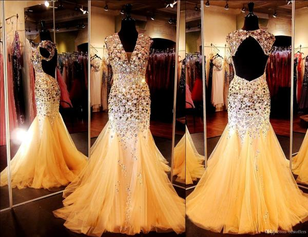 Cap Sleeve Copper & Gold Mermaid Prom Dresses 2017 Neck