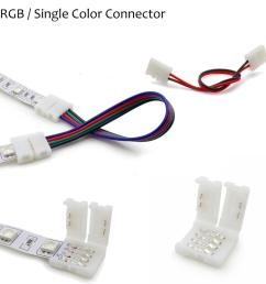wholesale 2pin 4pin 8mm 10mm rgb single color solderless wire angle connector cable adapter for 3528 5050 led flexible strip light led strip controller  [ 1000 x 1000 Pixel ]