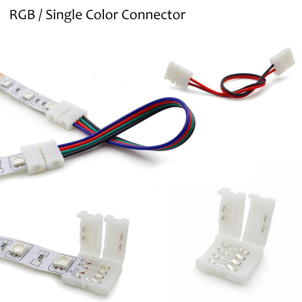 medium resolution of wholesale 2pin 4pin 8mm 10mm rgb single color solderless wire angle connector cable adapter for 3528 5050 led flexible strip light led strip controller
