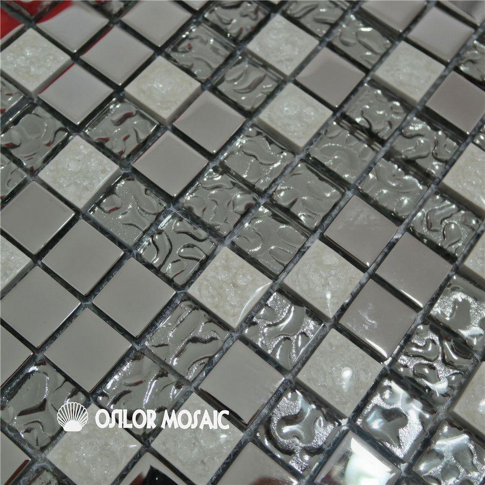 Acquista Piastrella In Mosaico Di Vetro E Metallo Argento
