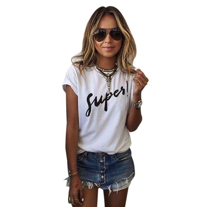Wholesale Korean White T Shirt Women 2017 Summer Style