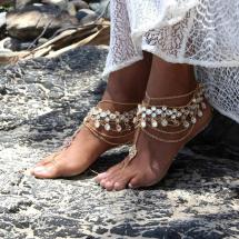 Gold Beach Wedding Barefoot Sandals