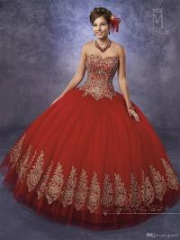Bright Red Quinceanera Dresses With Gold Appliques And ...