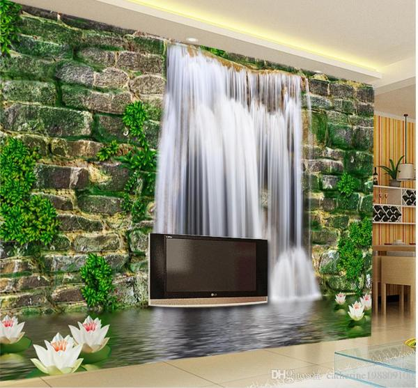3D Waterfall Wallpaper for Living Room