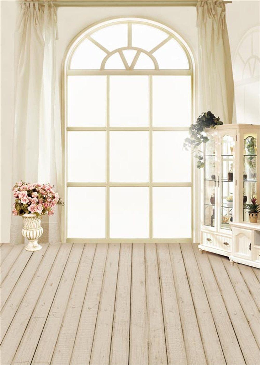 2019 Bright Window Soft Curtain Indoor Room Photo Backdrop Flowers Vases Cabinet Baby Newborn