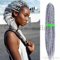 2018 18'' Grey Color Synthetic Box Braids Hair Exgtensions ...