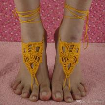 Crochet Barefoot Sandals Anklets Handmade Knitted Nude