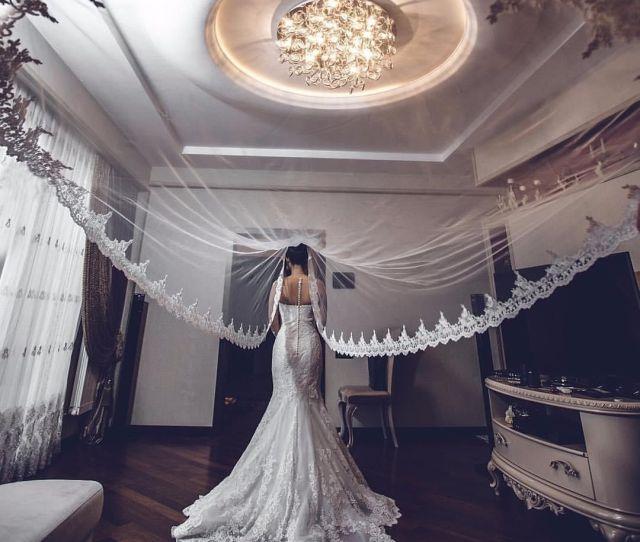 Hot Sale White Ivory Applique Tulle  Meters Long Bridal Head Veils With Comb Wedding Accessories Lace Bridal Veil Veu De Noiva Cpa Bridal Veil Online