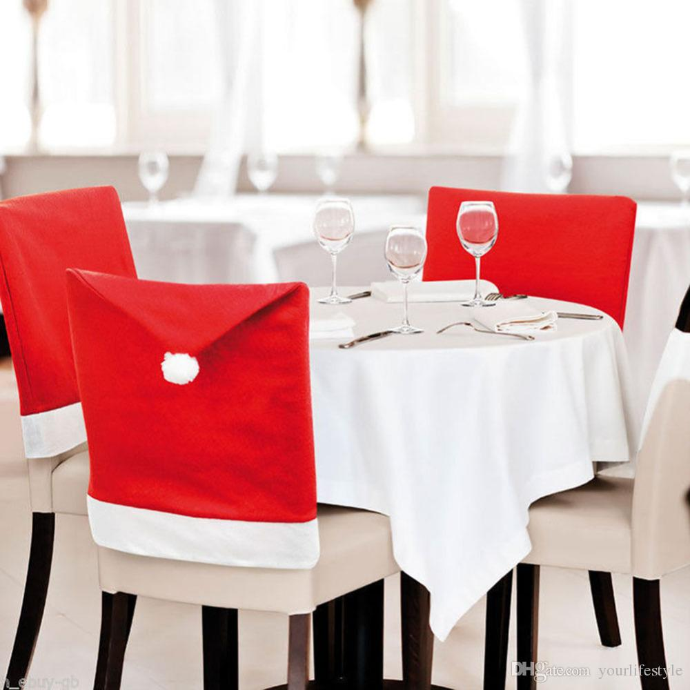 chair cover christmas decorations cherry wood dining chairs back navidad santa clause red hat decoration for home new year party decor cheap room covers linen
