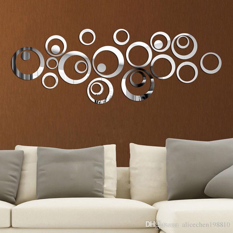 circles mirror wall sticker d silver wall decals fashion new diy