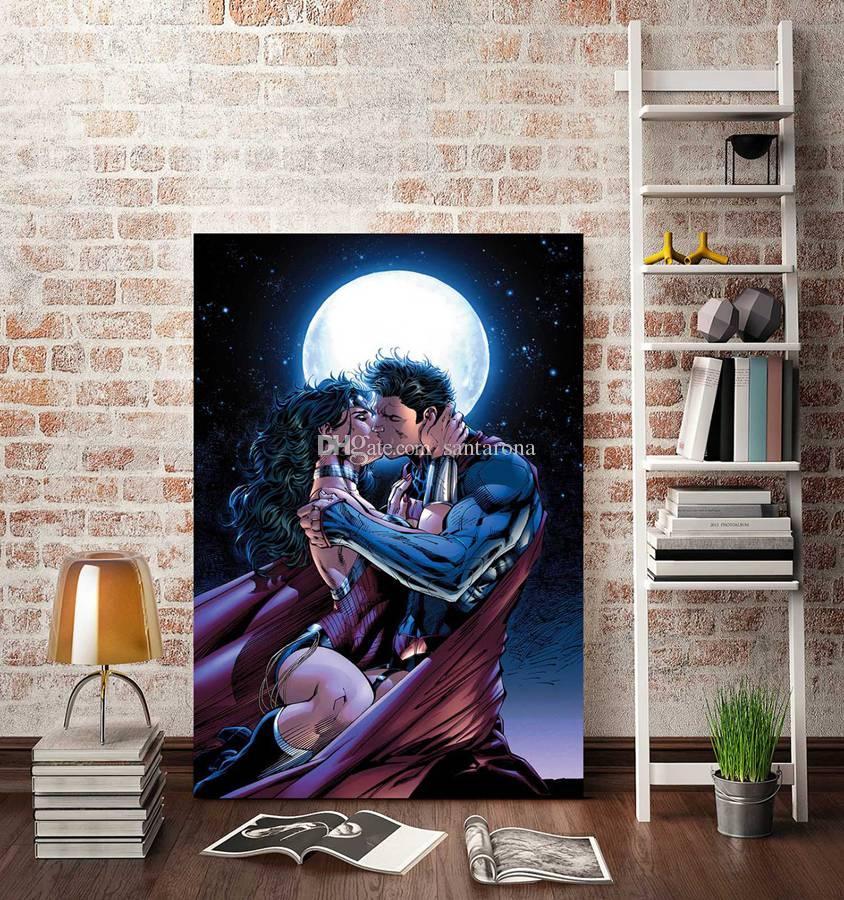 no frame superman and wonder woman kiss hd canvas print wall
