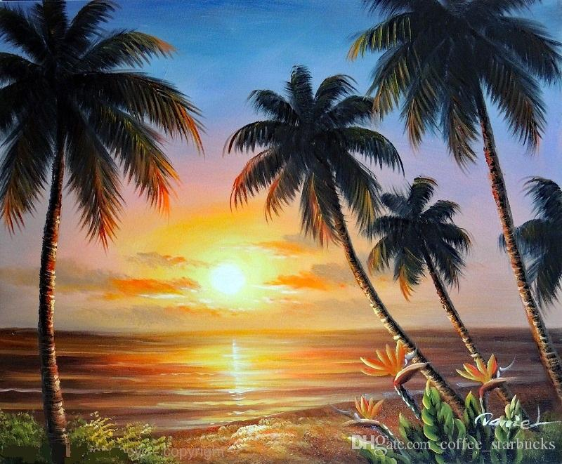 2018 Framed Hawaii Beach Sunset Palms Bird Of Paradise