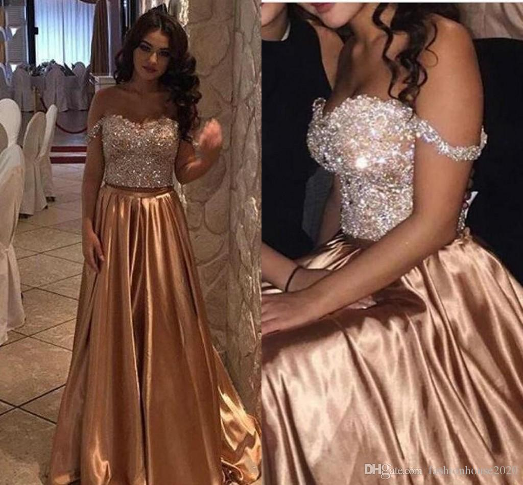 2017 Arabic Gold Two Pieces Beads Crystal Bling Prom