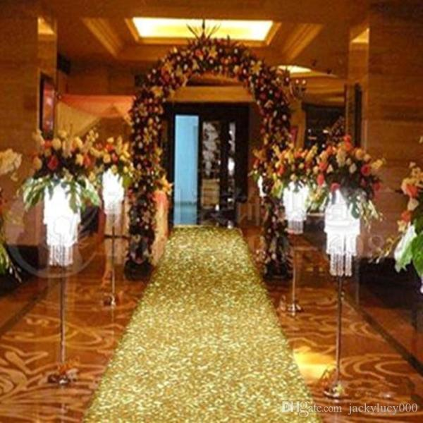 33 Feet Shiny Gold Pearlescent Aisle Runner T Station