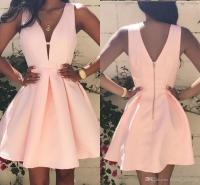 Simple Deep V Neck Homecoming Dresses 2017 Sexy Cute Pink ...