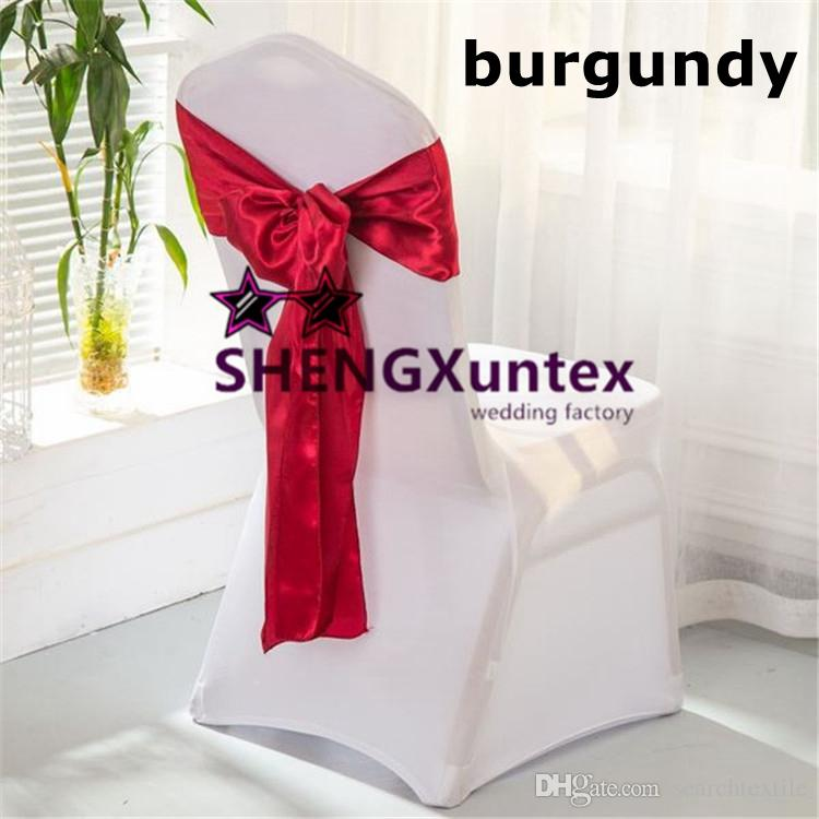 burgundy chair covers wedding time out hourglass satin sash with lycra spandex cover 100pcs