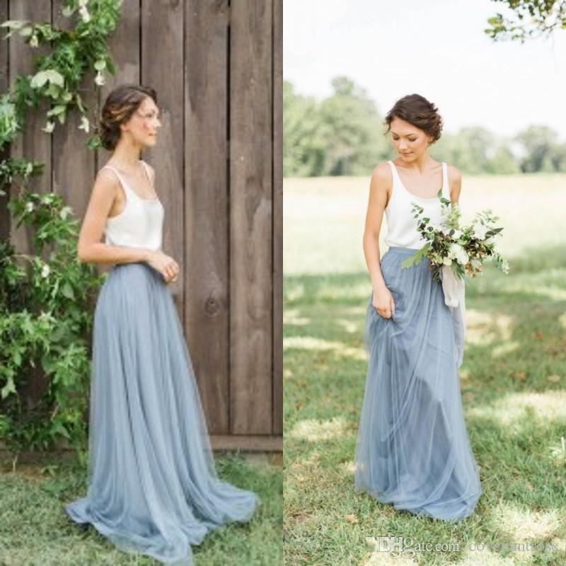 Vintage Dusty Blue Bridesmaid Dresses Garden Beach Wedding