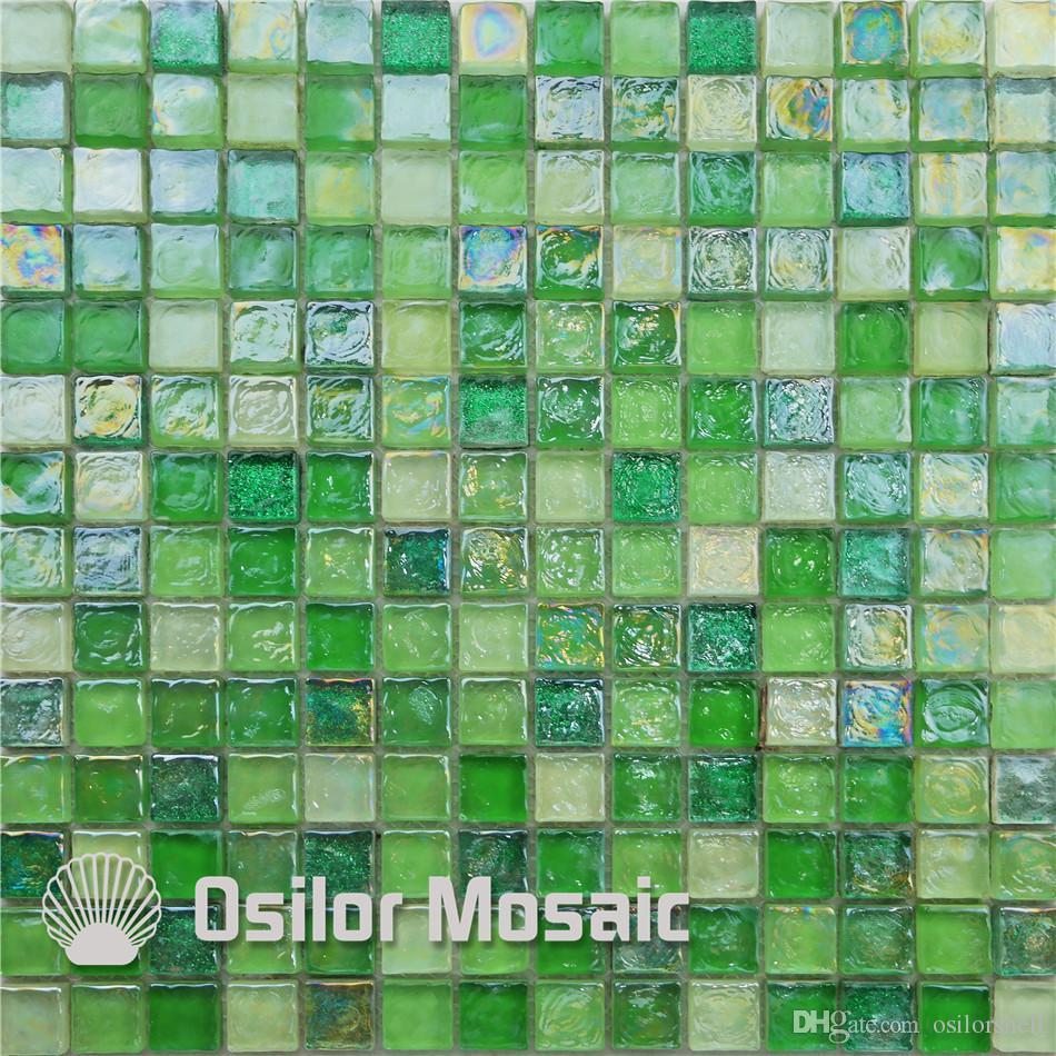 Compre Azulejo De Mosaico De Vidrio Verde Para Decoracin
