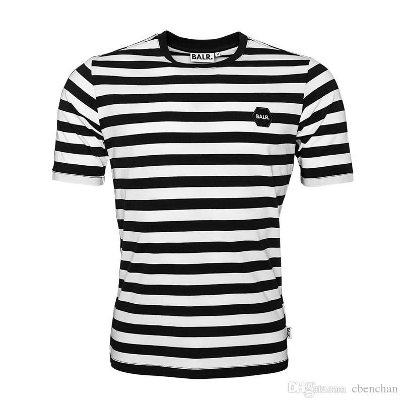 BR18 Men T Shirt Brand Clothing Stripe Tee Shirt BALRED
