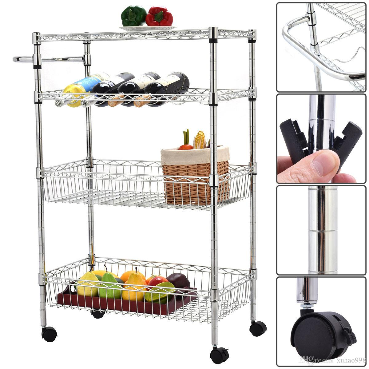 wire kitchen cart apartment cabinets 2019 4 tier rolling steel trolley island rack shelf stand 2 baskets