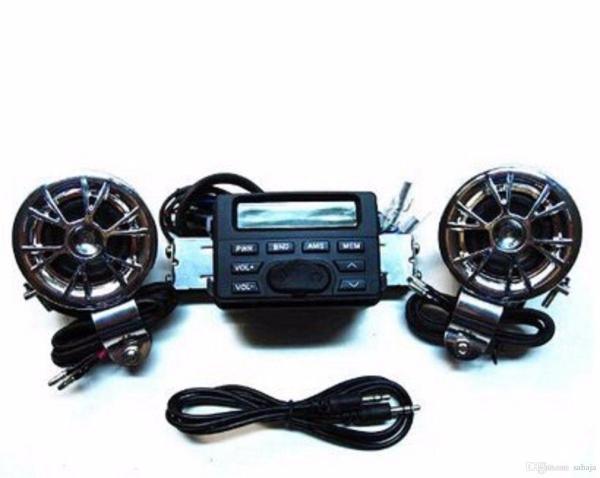 2019 Waterproof Motorcycle Atv Utv Bike Audio System Handlebar Fm Radio Ipod Stereo