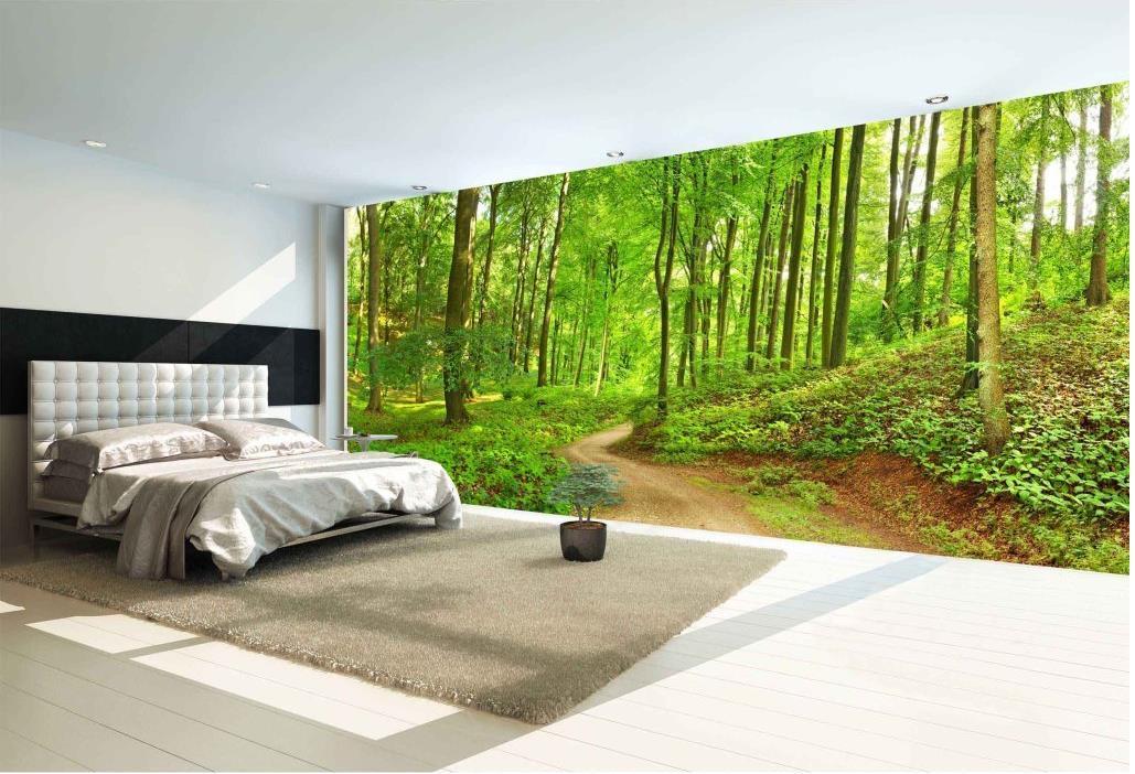 Cheap 3d Wallpaper Forest Trail Landscape High Definition Backdrop Wall Mural