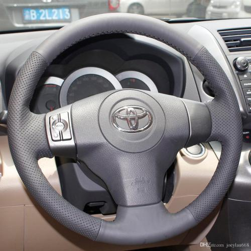 small resolution of steering wheel cover case for toyota yaris new vios rav4 2009 genuine leather diy hand stitched steering wheel cover car styling steering wheel covers girly