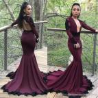 Sexy Burgundy Grape Mermaid Prom Dresses 2018 Black