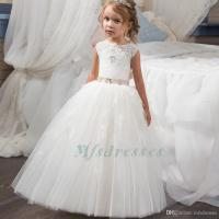 2017 Princess Cute White Ivory Flower Girl Dress Long ...