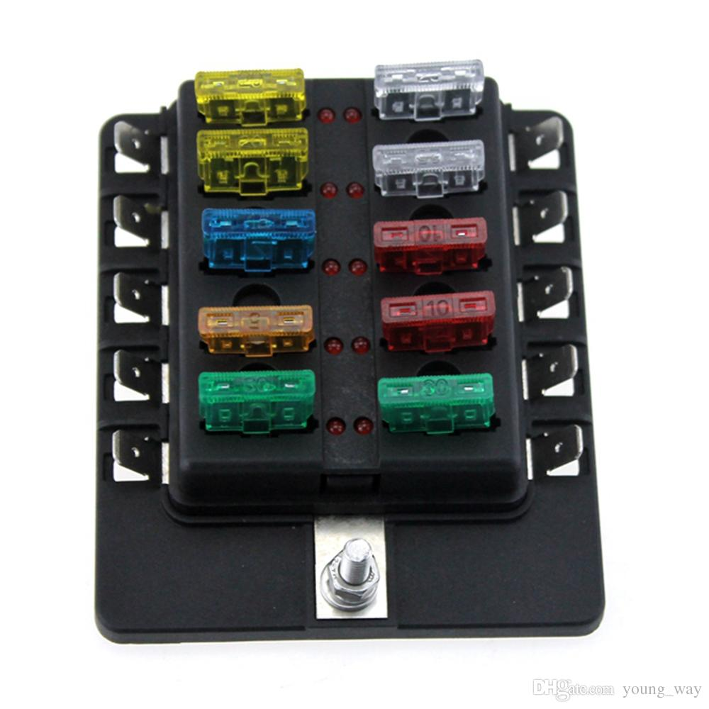 hight resolution of 10 way boat car blade fuse box holder truck rv vehicle fuse block with spade terminals