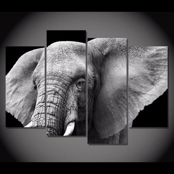2018 Framed Hd Printed Black White Elephant Tusks Ear