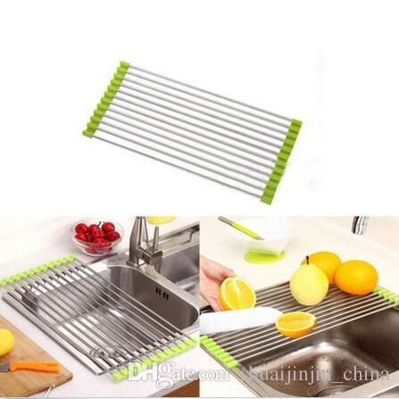 kitchen sink rack how to refinish stained wood cabinets easy use foldable stainless steel dish cutlery drainer drying holder useful tools cca6392 canada 2019 from shuaijinjin china