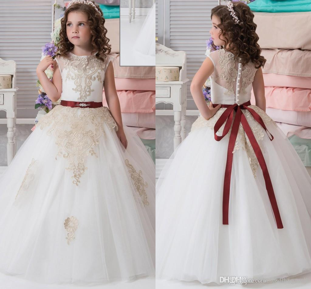 Lace Arabic 2017 New Flower Girl Dresses Cheap Vintage