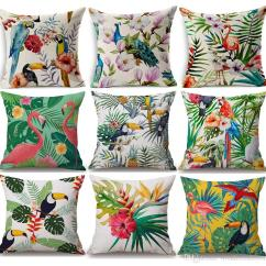 Wholesale Chair Cushions Active Office Tropical Plants Flower Pineapple Cushion Cover Bird Parrot Flamingo Toucan Green Leaves ...