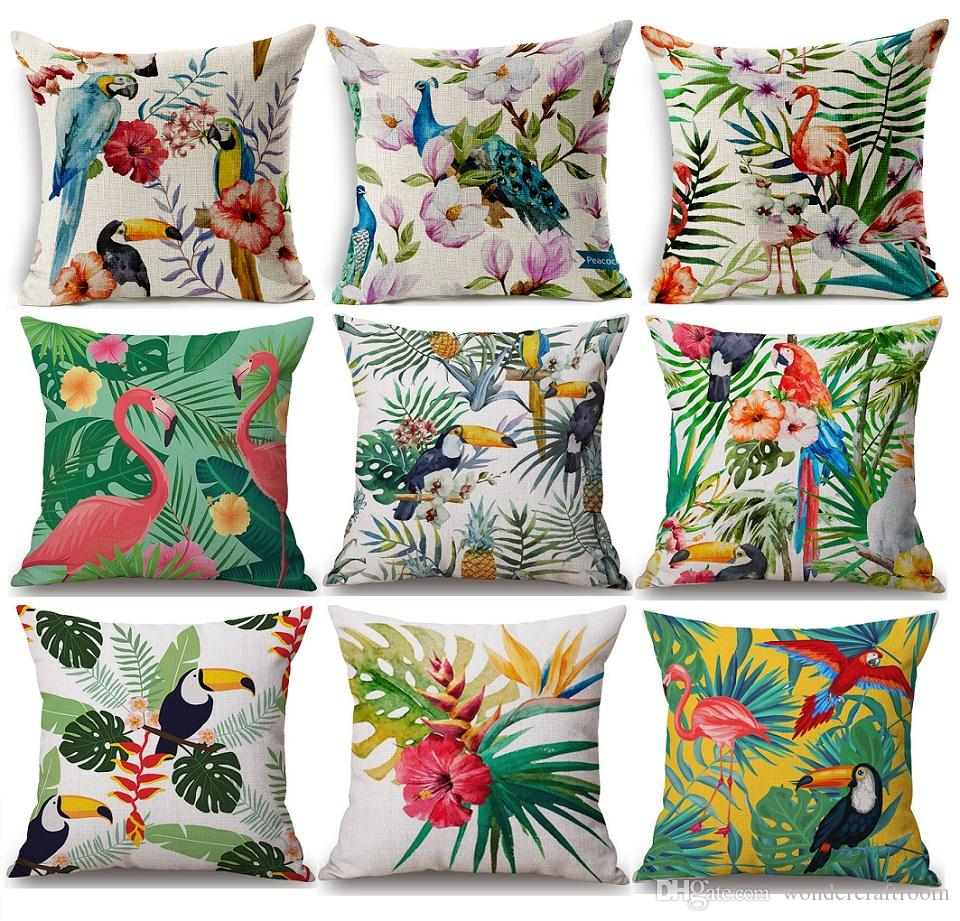 sofa cushion covers online baby chair philippines tropical plants flower pineapple cover bird parrot ...