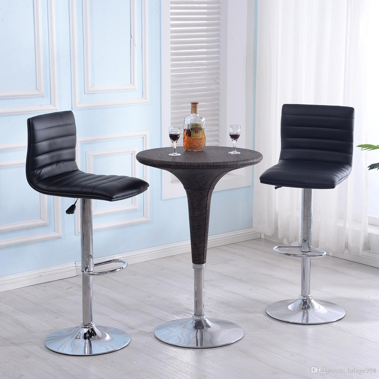 leather pub chair folding chairs rental 2019 modern set of 2 bar stools adjustable swivel in multi colors