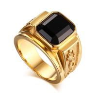 Men'S Gold Plated Ring Black Large Agate Stone 316l