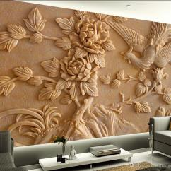 Living Room Decorative Items India Decor Chairs For Chinese Stereo Relief Phoenix Peony Mural Tv Wall 3d ...