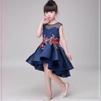 Dark Navy Fancy Flower Girls Dresses Charming Pleats High ...