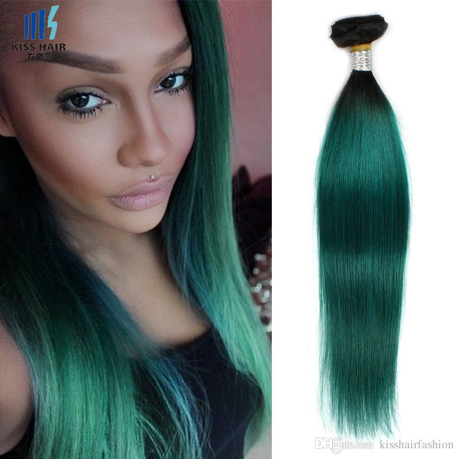 Two Tone T 1b Dark Green Ombre Remy Human Hair Bundles 12