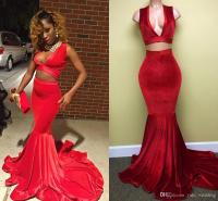Two Piece Velvet Mermaid Prom Dresses 2017 Sexy Red Black ...