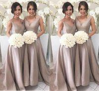 2017 Simple Elegant Bridesmaid Dresses A Line Sleeveless V ...