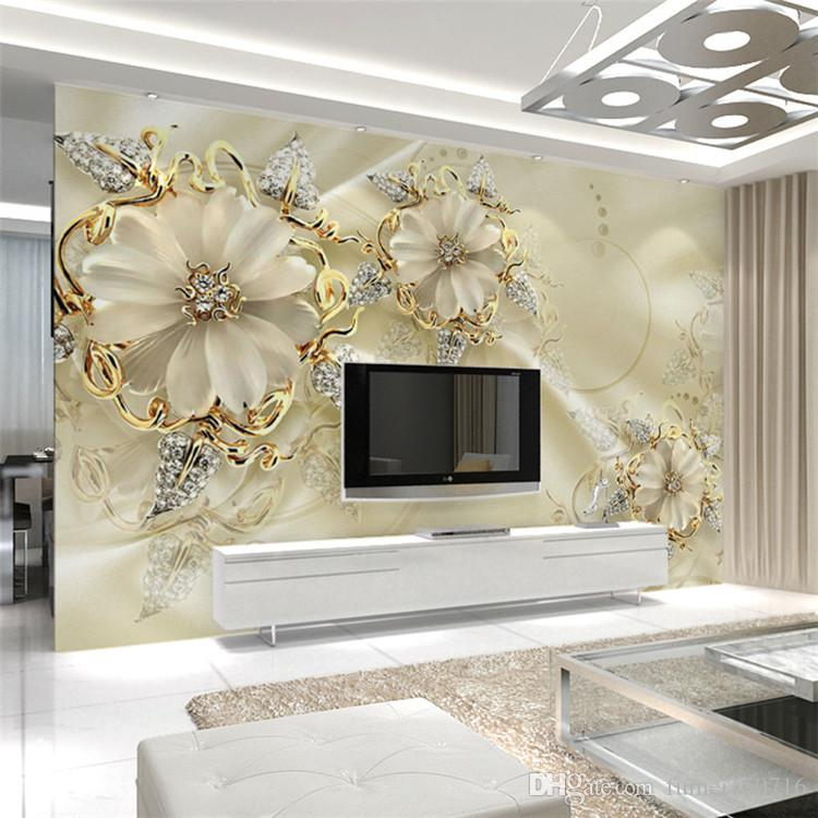 Korean 3d Wallpaper Home Decor Wall Panel Wallpaper Marble Diamond Jewelry Rose